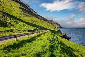 Road through the island of Kalsoy, Faroe Islands