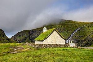 Village church in Saksun, Faroe Islands, Denmark