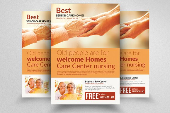 Senior Care Homes Flyers Template Flyer Templates Creative Market