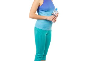 Sporty woman with a bottle of water, isolated