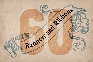 60 Hand Drawn Banners and Ribbons