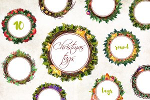Christmas Round Tags - 10 clip art