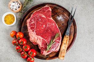 Fresh raw meat, lamb or beef steak