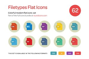 Filetypes Flat Icons Set