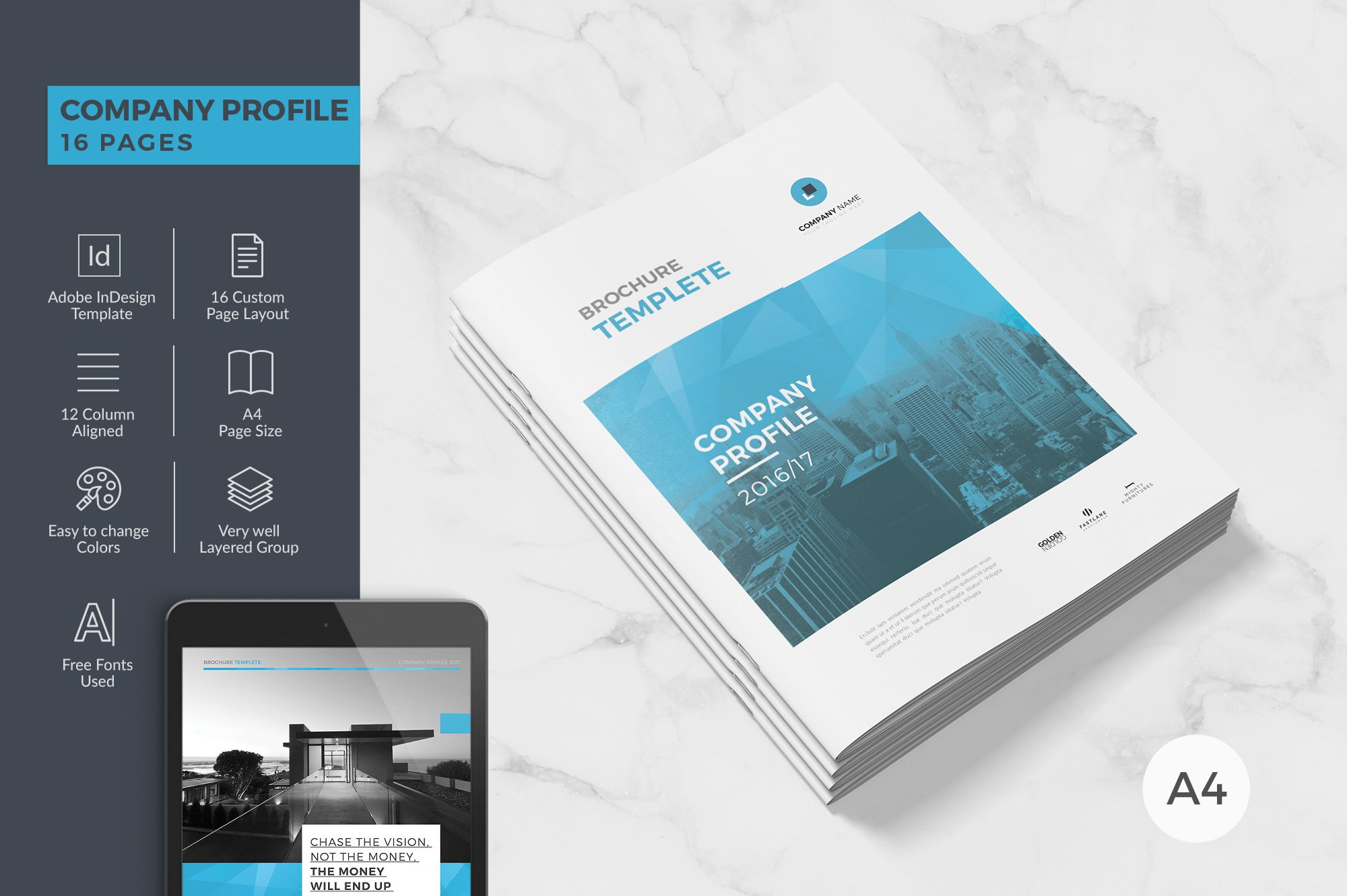 Clean Company Profile ~ Brochure Templates ~ Creative Market
