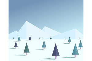 Flat winter forest illustration