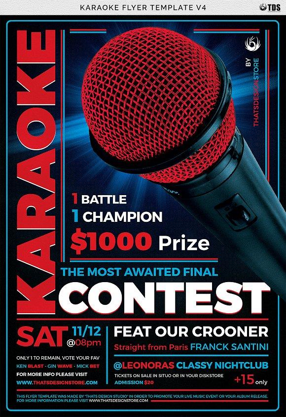 Karaoke Flyer Template V4 Flyer Templates Creative Market