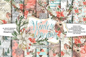 Winter Dreams digital paper pack