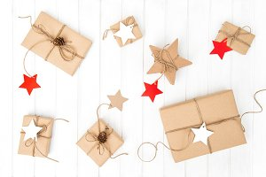 Wrapped gift boxes