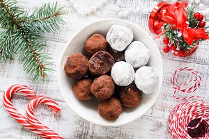 Christmas chocolate truffles, candy