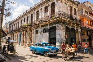 Old car and bicycles in Havana, Cuba