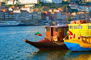 Funny touristic boats on Douro river