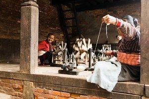 Women sew in Katmandu