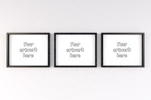 3 color wood frames mockup 10x8 inch