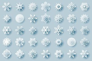 Geometric winter snowflakes