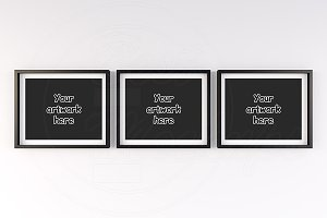 Three black and white mockup frame
