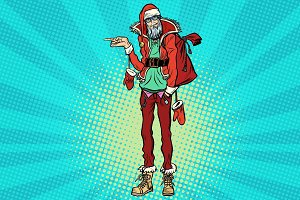 Hipster Santa Claus pointing sideways