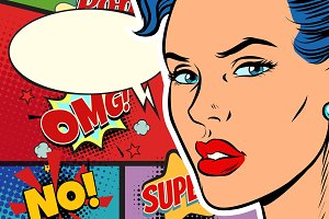 Close-up beautiful face pop art woman