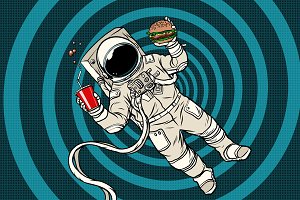 Astronaut in zero gravity with fast food