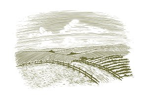 Woodcut Countryside Road