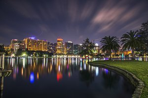 Night at Lake Eola Orlando, Florida
