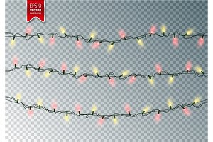 Christmas Festive Lights. Decorative Glowing Garland Isolated on Transparent Background. Shiny Colorful Decoration for Christmas and New Year Holidays.
