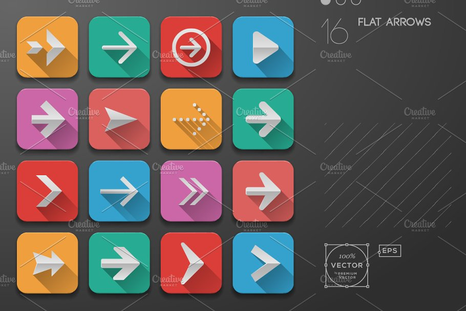 Arrows icons, Flat Ui Design