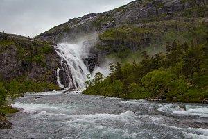 Waterfall of Husedalen valley