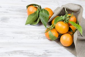 Tangerines clementine with leaves on