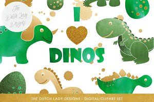 Dinosaur Clipart in Green & Gold