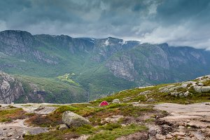 Little red tent  in the mountain