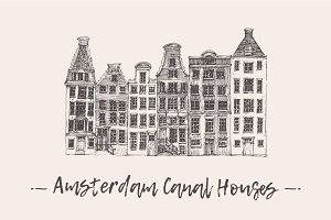 Set of Amsterdam Canal Houses