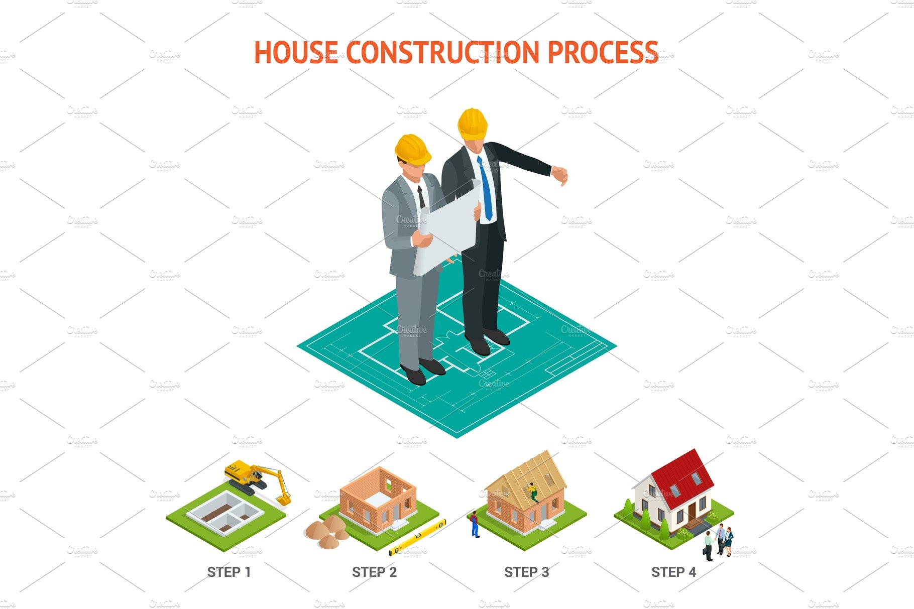 Isometric set stage by stage construction of a brick house for The process of building a house
