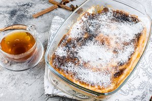 Cottage cheese casserole . Pie with