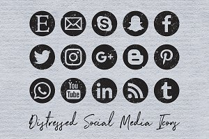 Distressed Social Media Icons