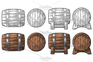 Wooden barrel set.