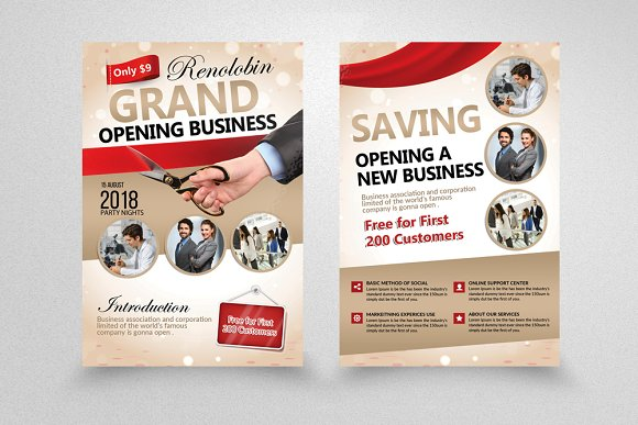grand opening business flyer flyer templates creative market