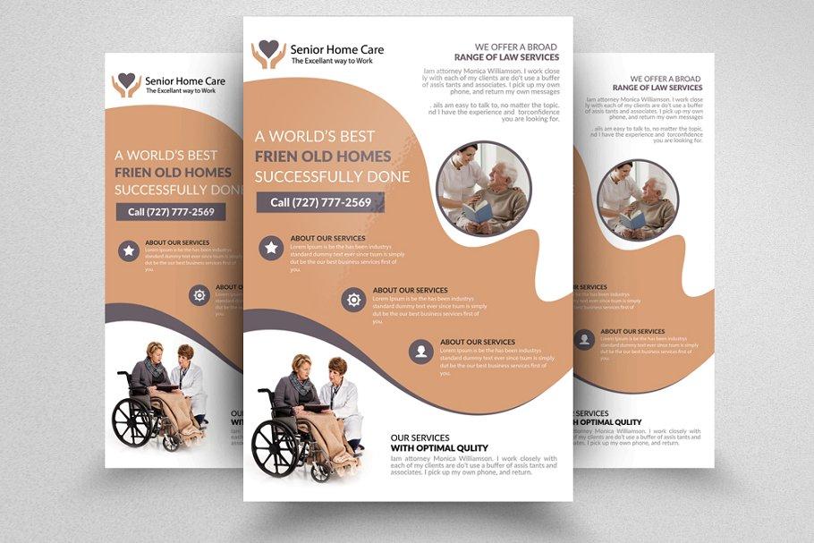 Elderly Care Home Flyer Flyer Templates Creative Market