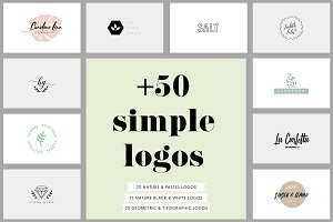 +50 Simple Logos & 3 patterns