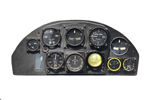 Plane dashboard isolated on white