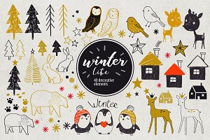 Winter Life (40 decorative elements)