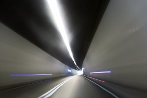 Artificial road tunnel as abstract blurred background