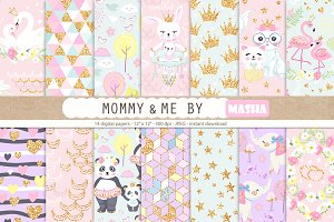 Mommy and Me digital papers