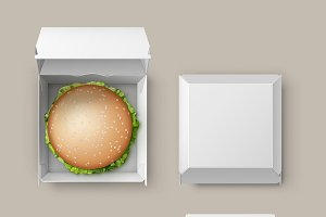 Realistic Container with Hamburger
