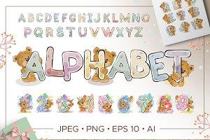 Kid's alphabet with cartoon bear