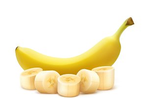 Whole and chopped banana