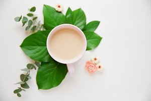 Styled Floral + Coffee Stock Image