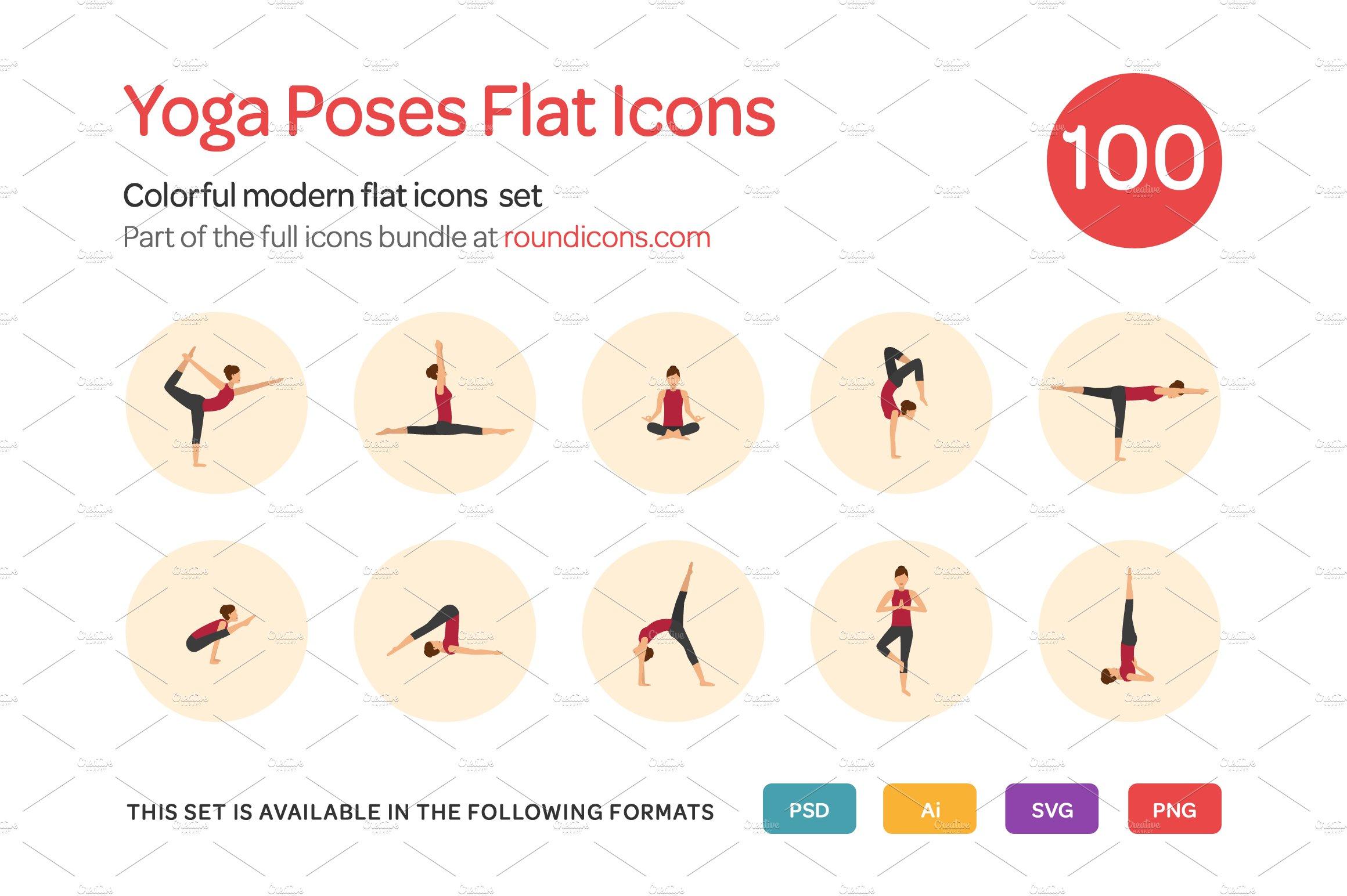 Yoga Poses Flat Icons Set Creative Market