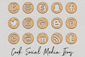Cork Social Media Icons Set