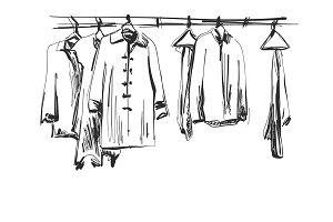 Wardrobe sketch. Clothes on the hangers. Hand drawn illustration
